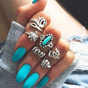 🛍NEW⚡️ 6pc⚡️ Retro Boho Style Midi Ring Set